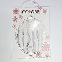 Наклейки для дизайну нігтів, срібло