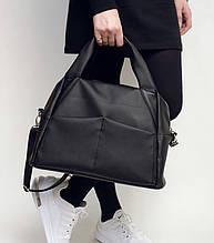 Женская черная сумка вместительная с длинным ремешком через плечо и двумя ручками матовая экокожа