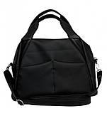 Женская черная сумка вместительная с длинным ремешком через плечо и двумя ручками матовая экокожа, фото 7