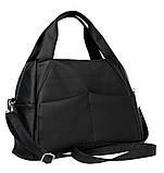 Женская черная сумка вместительная с длинным ремешком через плечо и двумя ручками матовая экокожа, фото 9