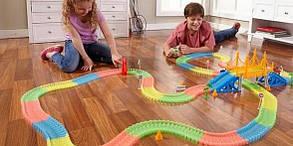 Детская гибкая игрушечная Дорога Трек 360 деталей светящейся дороги + 2 машинки