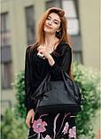 Женская черная сумка вместительная с длинным ремешком через плечо и двумя ручками матовая экокожа, фото 10