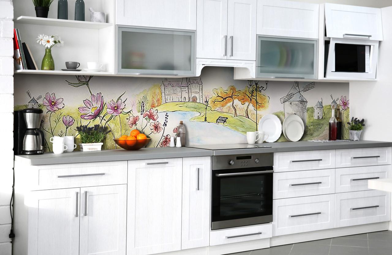 Виниловый 3Д кухонный фартук Мельница Рисунок (самоклеющаяся пленка ПВХ скинали) цветы Пейзаж Зеленый 600*2500 мм