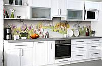 Виниловый 3Д кухонный фартук Мельница Рисунок (самоклеющаяся пленка ПВХ скинали) цветы Пейзаж Зеленый 600*2500 мм, фото 1