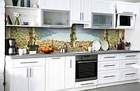 Виниловый 3Д кухонный фартук Вид на морской залив (самоклеющаяся пленка ПВХ скинали) колонны город Море Голубой 600*2500 мм, фото 1