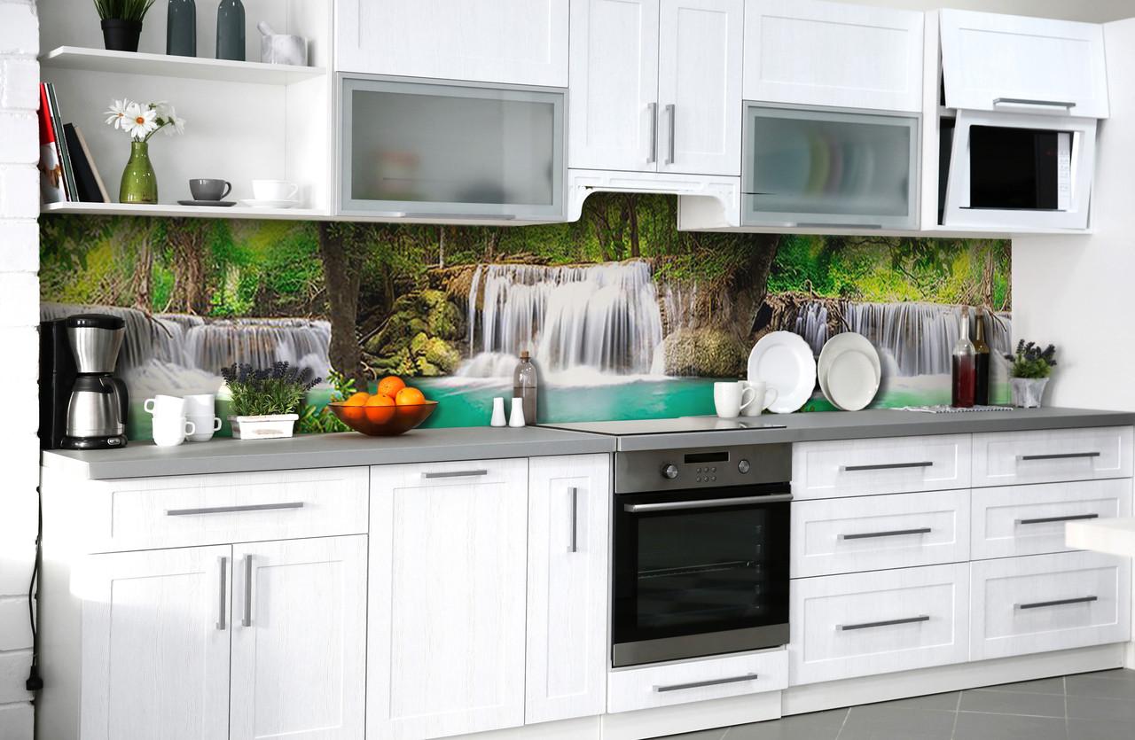Виниловый 3Д кухонный фартук Каскадные Водопады самоклеющаяся пленка ПВХ скинали лес деревья Природа Зеленый