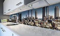 Виниловый 3Д кухонный фартук Город Небоскребы (самоклеющаяся пленка ПВХ скинали) Архитектура Голубой 600*2500 мм, фото 1