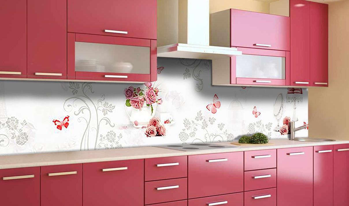 Виниловый 3Д кухонный фартук Цветочный орнамент (самоклеющаяся пленка ПВХ скинали) красные бабочки Абстракция Белый 600*2500 мм