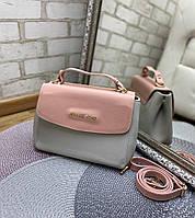 Женская сумка клатч через плечо кросс-боди небольшая средняя сумочка серая пудровая экокожа, фото 1