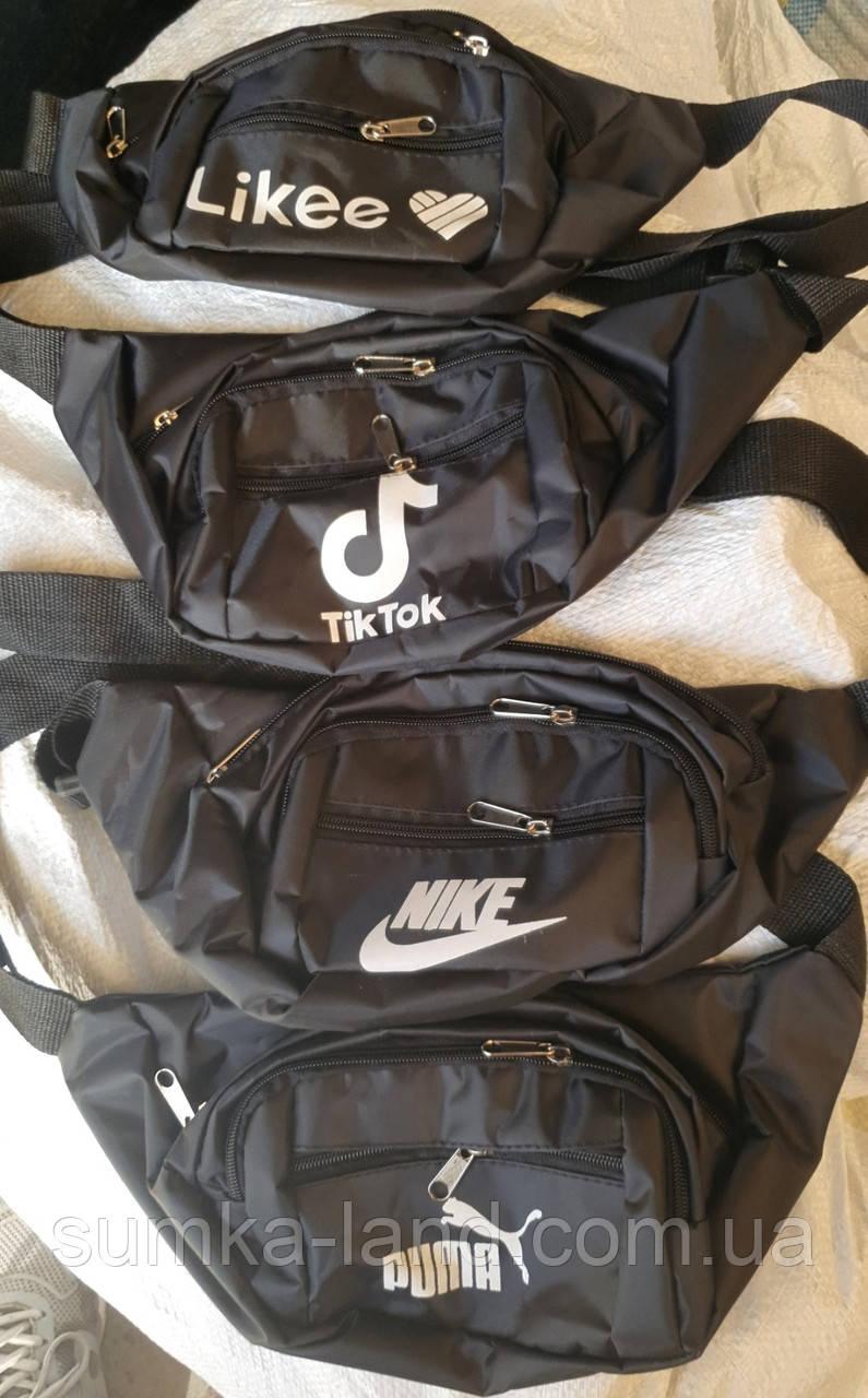 Чоловічі і жіночі спортивні поясні сумки, бананки на 4 змійки