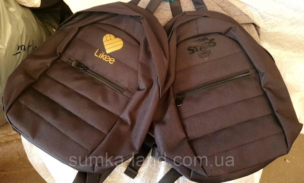 Текстильные черные рюкзаки спортивные и городские 27*35 см