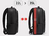 Рюкзак Bange BGS53 класичний діловий вологозахищений USB чорний 30 л, фото 3