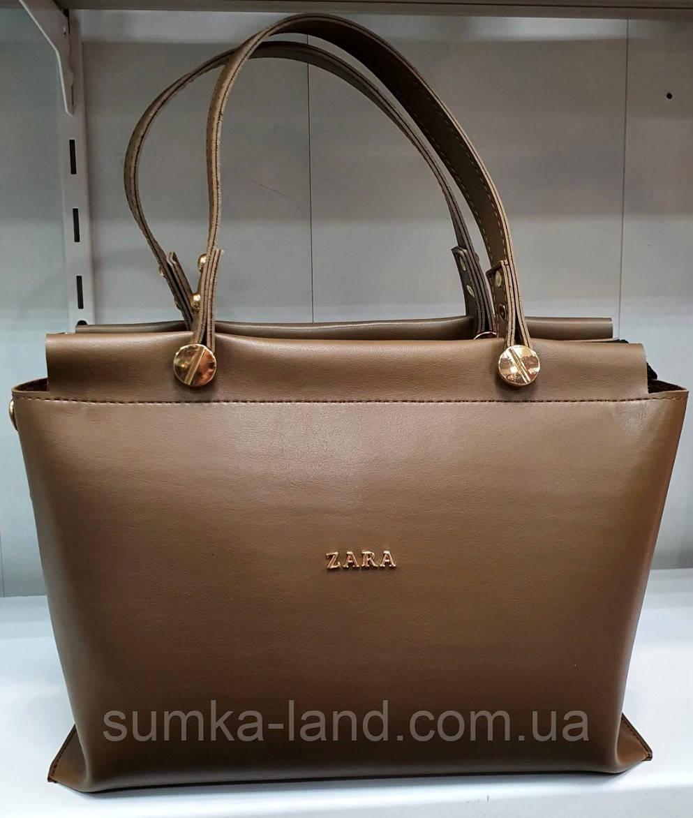Женская шоколадная сумка Zara из турецкой эко-кожи с двумя ручками и широким ремешком на плечо 31*22 см
