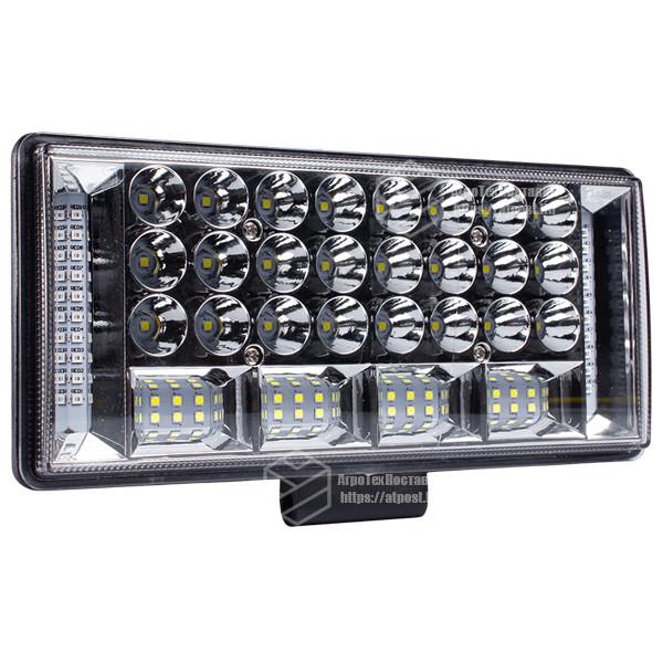Фара LED прямоугольная 204W 6000K (68 диодов) (22.5см х 10.5см х 3см) (ближний + дальний) ОБЛЕГЧЕННЫЙ КОРПУС!