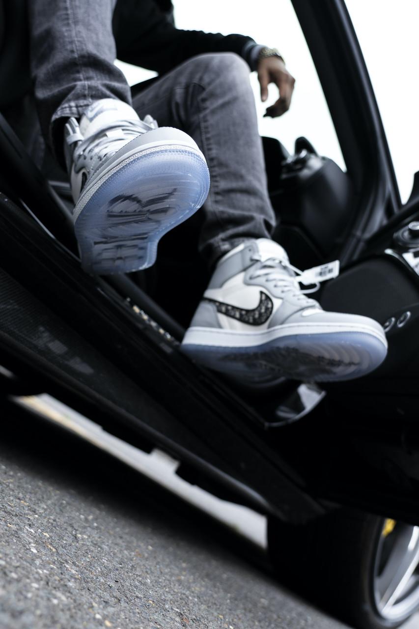 Мужские кроссовки Nike Jordan Dior в стиле Найк Джордан Диор БЕЛЫЕ (Реплика ААА+)