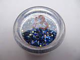 """Украшение для дизайна ногтей """"Брокард"""", цвет синий хамелион, фото 2"""