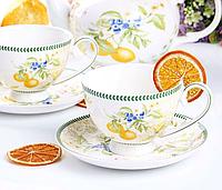 Фарфоровый чайный набор на 6 персон Лимон 250 мл 924-381, фото 1