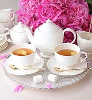 """Сервиз чайный фарфоровый на 6 персон """"Волна"""" 264-128"""