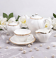 """Фарфоровый чайный сервиз на 6 персон """"Золотая волна"""" 264-031"""