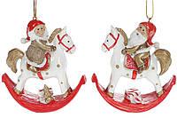 Подвеска новогодняя Гномик на лошадке, 10.5см, 2 вида, цвет - красный с золотом