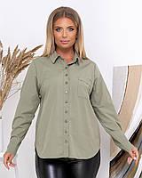 Женская однотонная рубашка больших размеров, фото 1