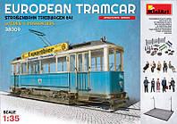 """Сборная модель """"Европейский трамвай с вагоновожатым, кондуктором и пассажирами"""""""