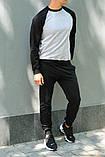 Мужской спортивный костюм - серый свитшот с черными рукавами и черные штаны (весна-осень), фото 2
