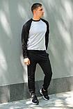 Мужской спортивный костюм - серый свитшот с черными рукавами и черные штаны (весна-осень), фото 3
