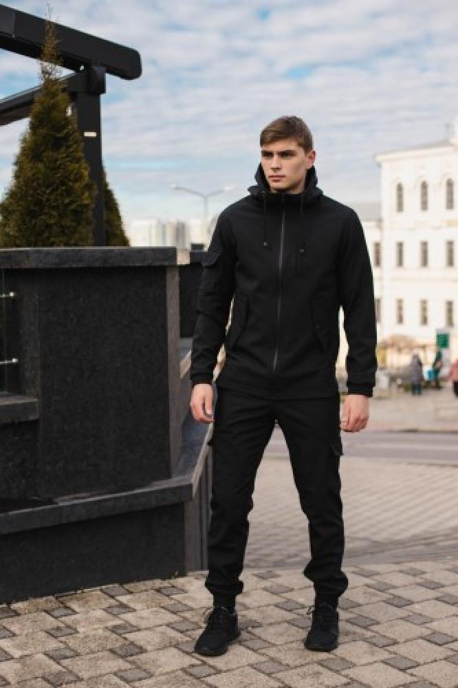 Чоловічий костюм чорний демісезонний Softshell Intruder. Куртка чоловіча чорна, штани утеплені. Ключниця в подарунок
