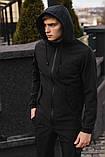 Чоловічий костюм чорний демісезонний Softshell Intruder. Куртка чоловіча чорна, штани утеплені. Ключниця в подарунок, фото 3
