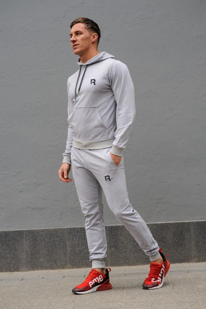Cерый мужской спортивный костюм Reebok (Рибок), весна-осень (реплика)