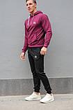 Мужской спортивный костюм Reebok (Рибок), бордовая худи и черные штаны весна-осень (реплика), фото 2