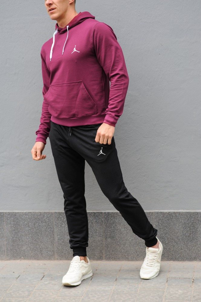 Мужской спортивный костюм Jordan (Джордан), бордовая худи и черные штаны весна-осень (реплика)