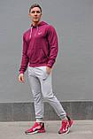 Мужской спортивный костюм Nike (Найк), бордовая худи и серые штаны весна-осень (реплика), фото 2