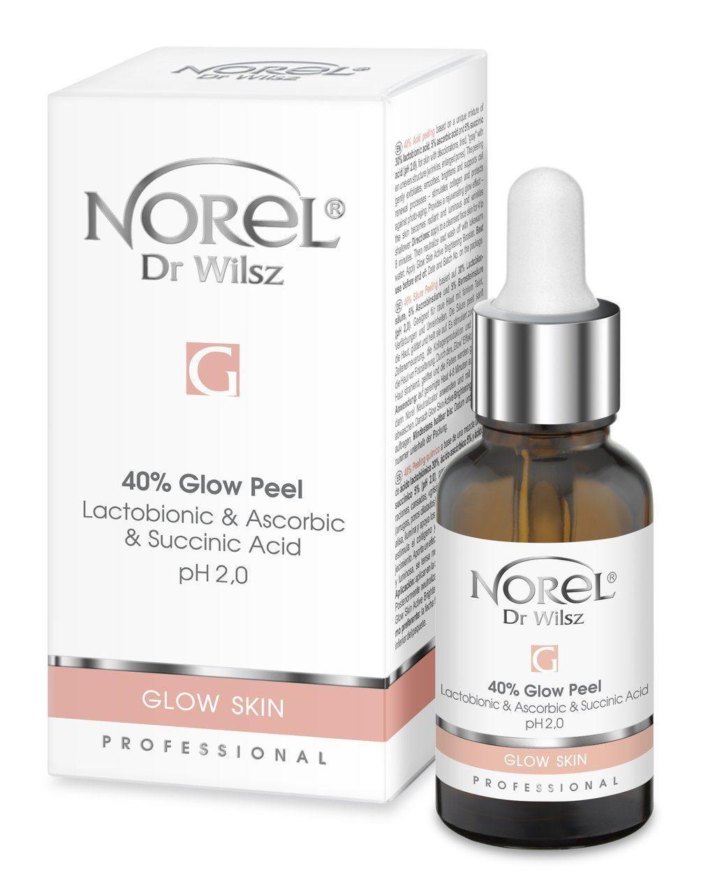 Пилинг с эффектом осветления и сияния кожи с лактобионовой, аскорбиновой и янтарной кислотой Norel Glow Skin G