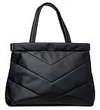 Вместительная черная женская сумка шоппер матовая эко-кожа, фото 2