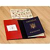 Кожаная обложка на паспорт Клубника