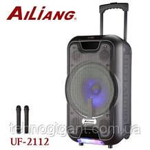 Беспроводная колонка чемодан Ailiang UF-2112, активная акустика, комбоусилитель + пульт и 2 микрофона