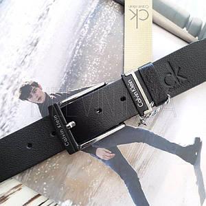 Ремень кожаный Calvin Klein реплика Черный