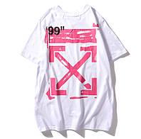 Белая футболка Off white impressionism (с розовыми стрелками офф вайт мужская женская)