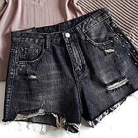 Джинсовые шорты черные короткие