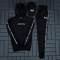 Спортивный костюм мужской Under Armour Лампас кофта + штаны + кепка черный