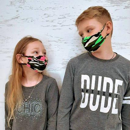 """Детская защитная двухслойная маска 02 """"Питта Двухнить Милитари"""" в расцветках"""