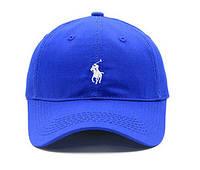 ✔️ Кепка модная хлопковая с белым логотипом синяя мужская женская бейсболка
