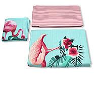 """Семейный комплект (Ранфорс)   Постельное белье от производителя """"Королева Ночи""""  Фламинго на голубом и розовом, фото 3"""