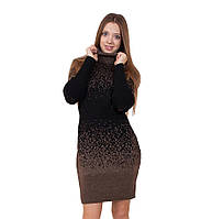 Вязаное платье большого размера Леопард р 48-54, фото 1
