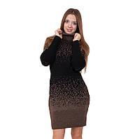 Вязаное платье Леопард (48-58) шоколад, фото 1