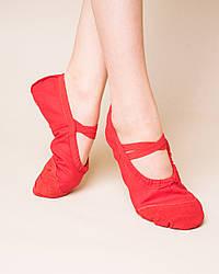 Балетки танцевальные с кожаным носком и кожаной подошвой Dance 011, красный