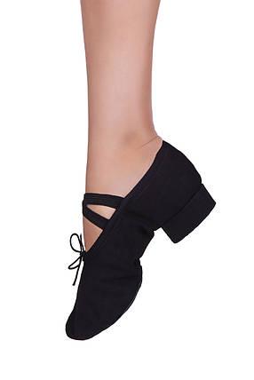 Балетки на каблуке тканевые Dance 1104/1 Черные, фото 2