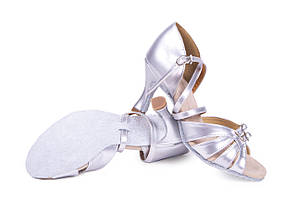 Босоножки для бальных танцев S 100 D-1 7,5 см каблук Серебро, фото 2